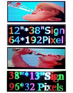 Video Picture Full Color Led Sign 38 x12 Programmable Scrolling Message Display