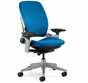 New Steelcase Leap Chair Adjustable Desk Buzz2 Blue Fabric Seat Platinum Frame