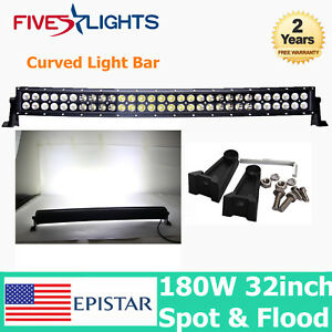 Curved 32inch 180w Epistar Led Light Bar Spot Flood Driving Offroad Jeep Car 35