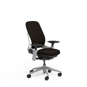 Steelcase Leap Plus Adjustable Chair V2 Buzz2 Chocolate Fabric 500lb Platinum