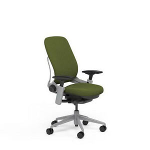 Steelcase Leap Plus Adjustable Chair V2 Buzz2 Ivy Green Fabric 500lb Platinum