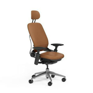 New Steelcase Adjustable Leap Desk Chair Headrest Camel Leather Black Frame