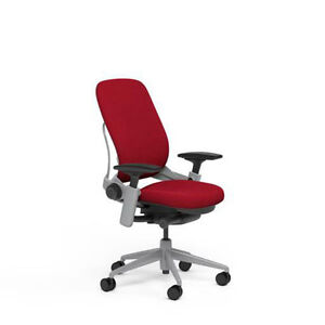 Steelcase Leap Plus Adjustable Chair V2 Buzz2 Rouge Red Fabric 500lb Platinum