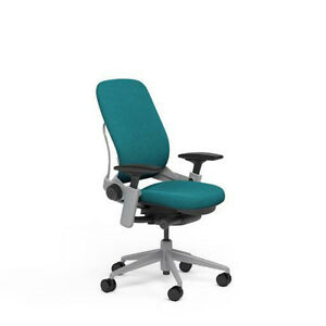 Large Steelcase Leap Plus Adjustable Chair V2 Buzz2 Cyan Fabric 500lb Platinum