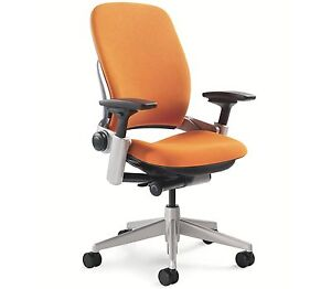 Steelcase Leap Chair Adjustable Buzz2 Pumpkin Orange Fabric Desk Seat Platinum