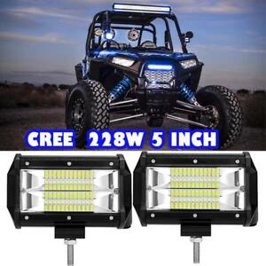 Pair 5 inch 288w Cree Led Work Light Bar Flood Offroad Fit 4wd Jeep Truck 4 18w