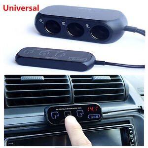 3 Way Car Cigarette Lighter Socket Outlet Adapter splitter Touch Switch Dual Usb