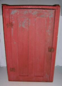 Antique Primitive Red Painted Wooden Wall Hanging Cupboard Cabinet