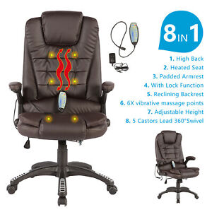 Heated Vibrating Massage Office Chair Executive Ergonomic Computer Desk Brown