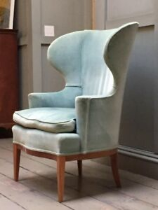 Edward Wormley For Dunbar Wingback Pale Blue Chair