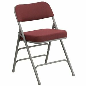 Flash Furniture Metal Folding Fabric Chair In Burgundy And Gray