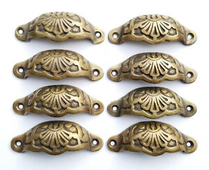 8 Apothecary Drawer Cup Pulls Handles Ant Victorian Style Solid Brass 3 C A2