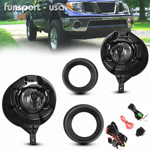 For 05 16 Nissan Frontier Metal Chrome Bumper Clear Fog Lights Switch Wiring Kit