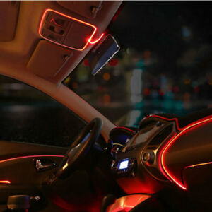 3m Red El Wire Car Interior Decor Fluorescent Neon Strip Cold Light Tape For Vw