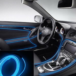 3m Blue El Wire Car Interior Decor Fluorescent Neon Cold Strip Light Universal