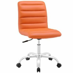 Modway Ripple Mid Back Armless Swivel Office Chair In Orange