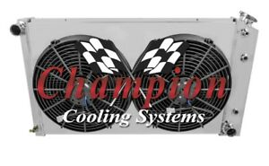 1967 1985 Buick Riviera 3 Row Champion Radiator With Shroud And Spal Fans