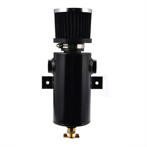 Baffled Aluminum 0 75l Oil Catch Can Tank Bottle Npt 1 2 With Filter Black