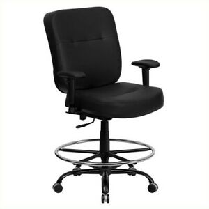 Flash Furniture Hercules Leather Drafting Chair With Arms In Black
