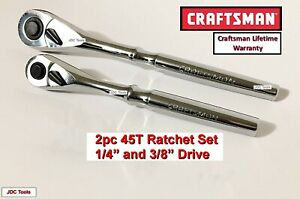 Craftsman Hand Tools 2pc 3 8 1 2 Full Polish Ratchet Socket Wrench Set 45t