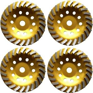 4 Pack 7 Concrete Turbo Diamond Grinding Cup Wheel For Angle Grinder 24 Segs