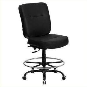 Flash Furniture Hercules Leather Drafting Chair Chairs In Black