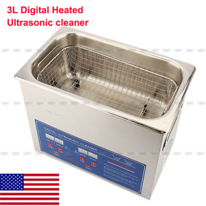 Industrial Stainless Steel 3l Commercial Heated Ultrasonic Cleaner Heater Timer