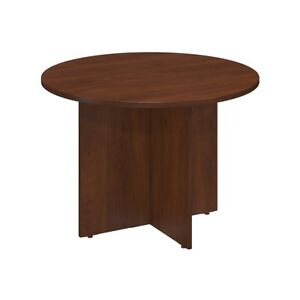 C 42w Round Conference Table With Wood Base In Hansen Cherry