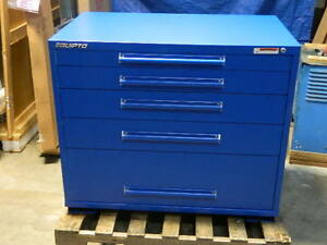 Equipto Heavy duty Tool Box Storage Cabinet 5 Drawer 45 X 28 X 36 Steel Blue