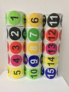 2 Round 1 15 Inventory Control Numbers Storage Stickers 500 Labels Per Roll
