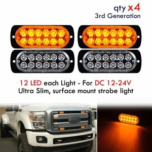 4pcs Amber Ultra Slim 12 Led Surface Mount Emergency Warning Strobe Flash Light