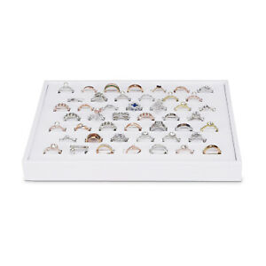 White Leatherette Jewelry Display Showcase Ring Horizontal Tray