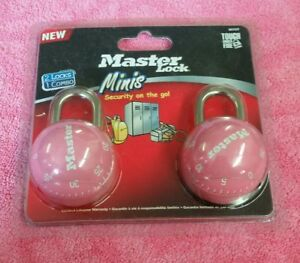 Master Lock Minis 2 Locks 1 Combination Pink Ball Metal Security School Locker