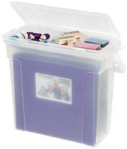 Portable Clear Scrapbook File Box Files Paper Books Lid Storage Case Supplies