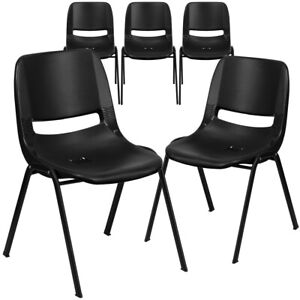 5 Pk Hercules Series 880 Lb Capacity Black Ergonomic Shell Stack Chair