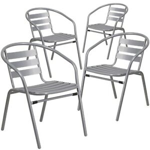 4 Pk Silver Metal Restaurant Stack Chair With Aluminum Slats