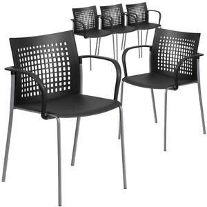 5 Pk Hercules Series 551 Lb Capacity Black Stack Chair With Air vent Back
