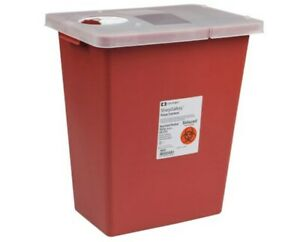Sharp Container 8 Gallon Red Hinged Lid Biohazard Needle Disposal Sharps 2 Pack
