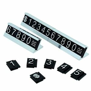 Price Display Cute Stand Label Tag Adjustable Number And Base silver