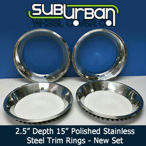 1515d25 Chevy 15 2 5 Depth Steel Rally Wheel Trim Rings Beauty Rings New Set 4