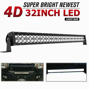 420w 32inch Led Light Bar Spot Flood Combo For Jeep Tractor Atv 4wd Offroad 34