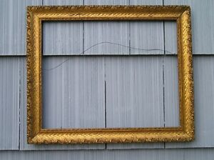 Antique Aesthetic Eastlake Victorian Elegant Gilt Over Oak Picture Frame 16 20