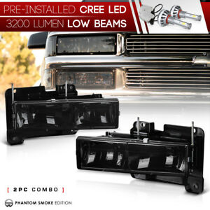Built In Led Low Beam 88 98 Chevy Gmc Ck Silverado Suburban Sierra Headlights