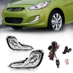 For 12 16 Hyundai Accent Chrome Clear Fog Light Front Bumper Lamps switch wiring