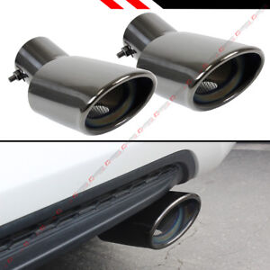 For 2016 18 Honda Civic Titanium Black Chrome Muffler Exhaust Tip Finishers X 2