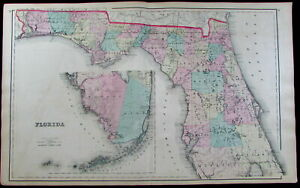 Florida State Counties Map Dade County Miami Keys Tallahassee 1876 Ow Gray Map
