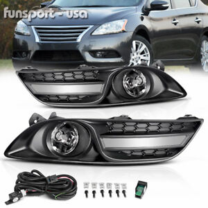 For 2013 2015 Nissan Sentra Clear Fog Light Front Bumper Lamp wiring switch Pair