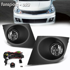 For 2007 2011 Nissan Versa Clear Fog Lights Front Bumper Lamp wiring switch Pair