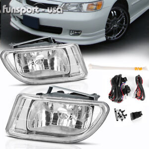 For 1999 2004 Honda Odyssey Clear Front Bumper Fog Light Lamp Wiring Switch Pair