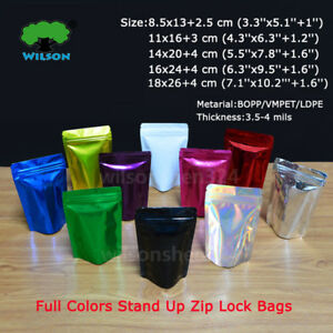 Many Size Shiny Colors Aluminum Foil Stand Up Zip Lock Bags Factory Wholesale